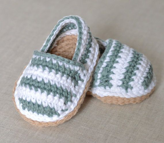 CROCHET PATTERN for cute little Stripy Espadrille Shoes for Baby. Make these lovely little espadrille shoes in no time with this simple, easy to