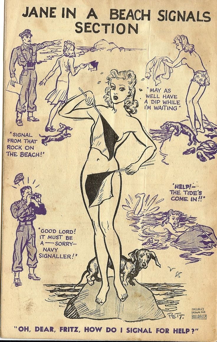 "Signals Jane: In wartime Britain, the cartoon heroine ""Jane"" appeared regularly in The Daily Mirror and boosted morale during the Blitz and thereafter."