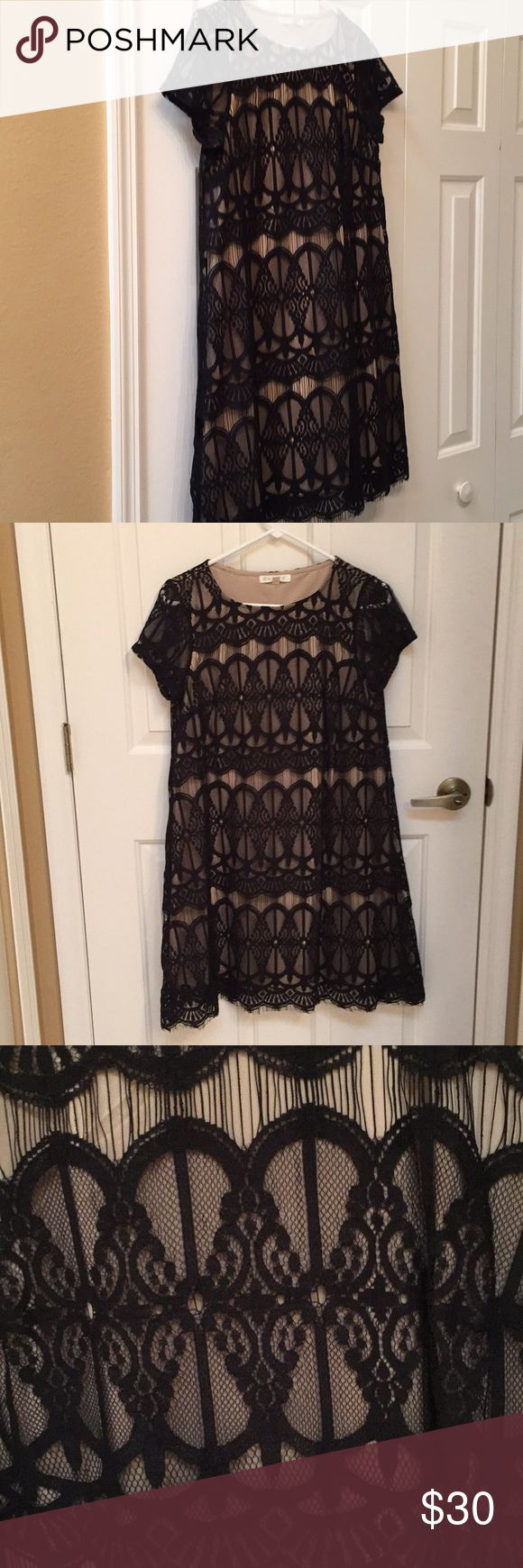 Black lace dress Nude lining with black lace overlay. Hits right at the knee. No tags but never worn Short sleeve. A line style fire Dresses Mini