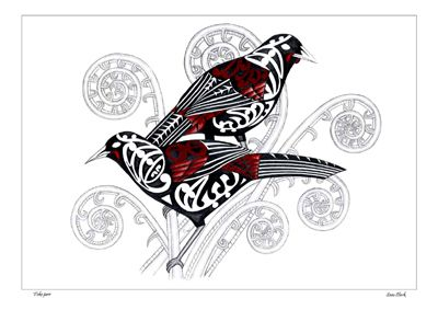 Tieke pair (saddleback) birds illustration in white black and reddish-brown pencil, coloured pencil, and ink on paper. Using Maori motif patterns on the birds. By Sam Clark, NZ artist. Prints at Kura Gallery.