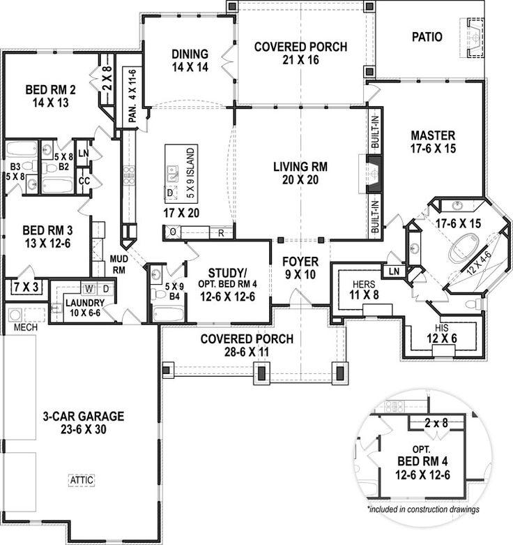 143 best House plans images on Pinterest Dream home plans, Dream - new blueprint for 3 car garage