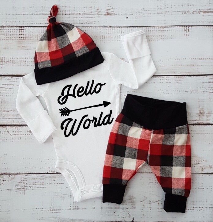 A personal favorite from my Etsy shop https://www.etsy.com/ca/listing/487795778/baby-boy-going-home-outfit-baby-girl