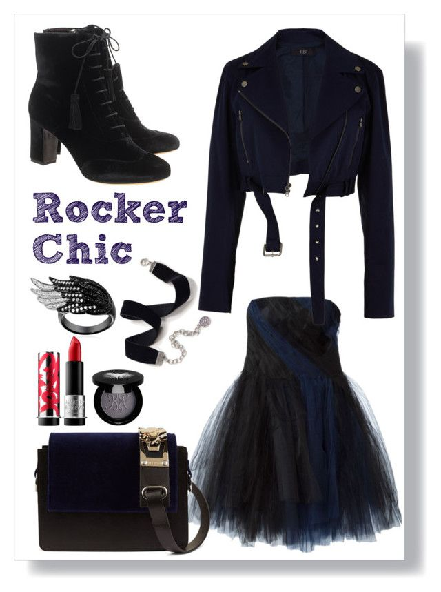 """""""Rocker Chic"""" by cinnamonbelle ❤ liked on Polyvore featuring Oscar de la Renta, Tabitha Simmons, Sweet Romance, Amey Martin, TIBI, MAKE UP FOR EVER and Rouge Bunny Rouge"""