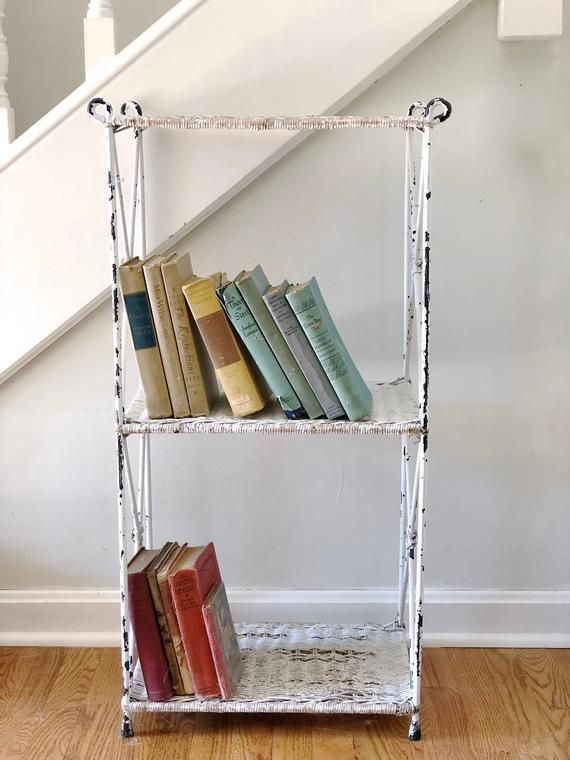 Vintage White Wicker Shelf Rack Book Shelf Storage Rack Wicker Shelf White Wicker Shelves