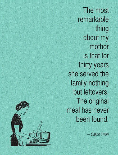 Tribute to mom's 30 years of catering to the crew and cooking for an army.   RIP Ma. Miss you xo  /HW