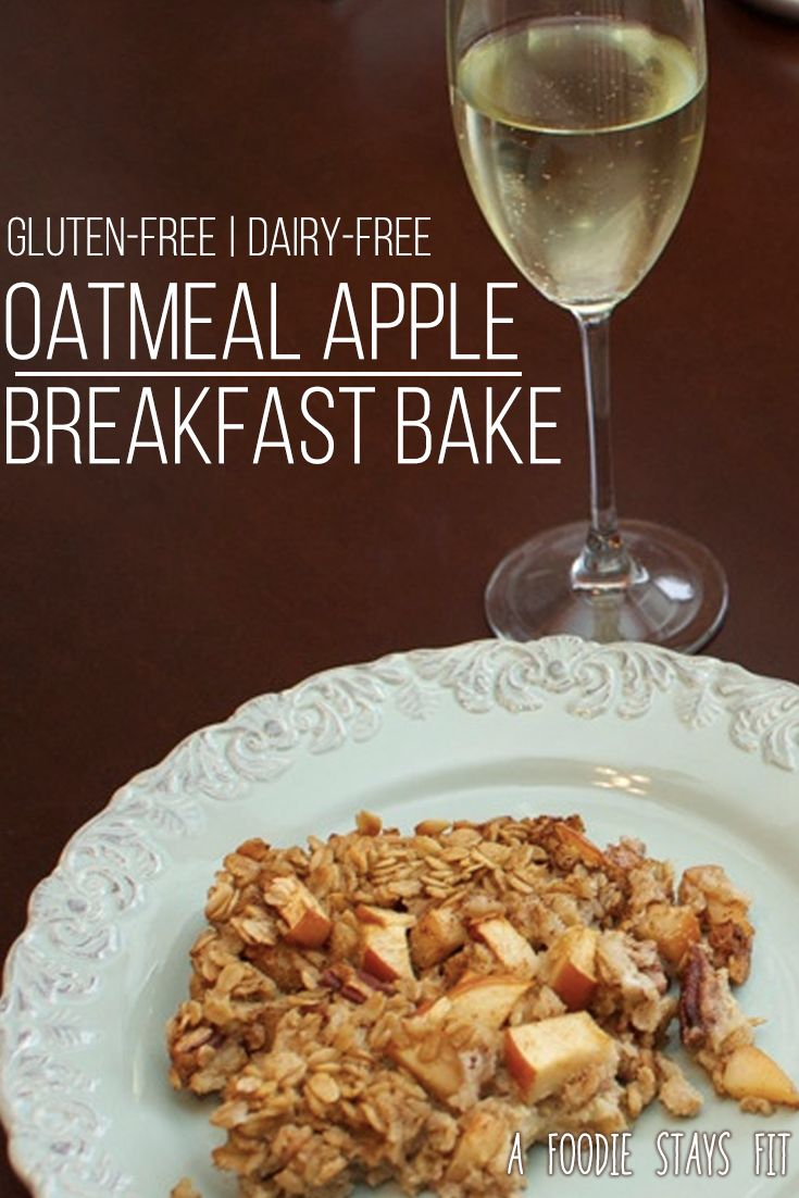 Easy gluten-free oatmeal breakfast bake with cinnamon and apples