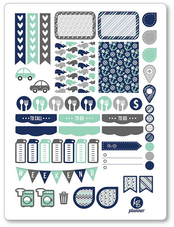 Nautical Weekly Spread Planner Stickers for Erin Condren Planner, Filofax, Plum Paper