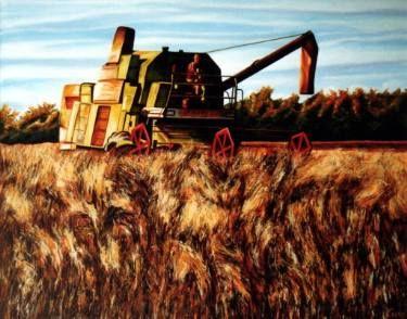 """Saatchi Art Artist Dan Civa; Painting, """"Harvesting peaces in Danish autumn time"""" #art"""