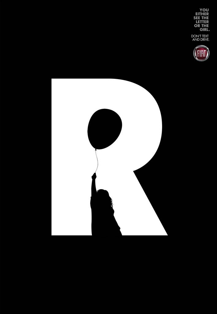 """You either see the """"R"""" or the girl // Don't Text and Drive Campaign from Leo Burnett Tailor Made"""