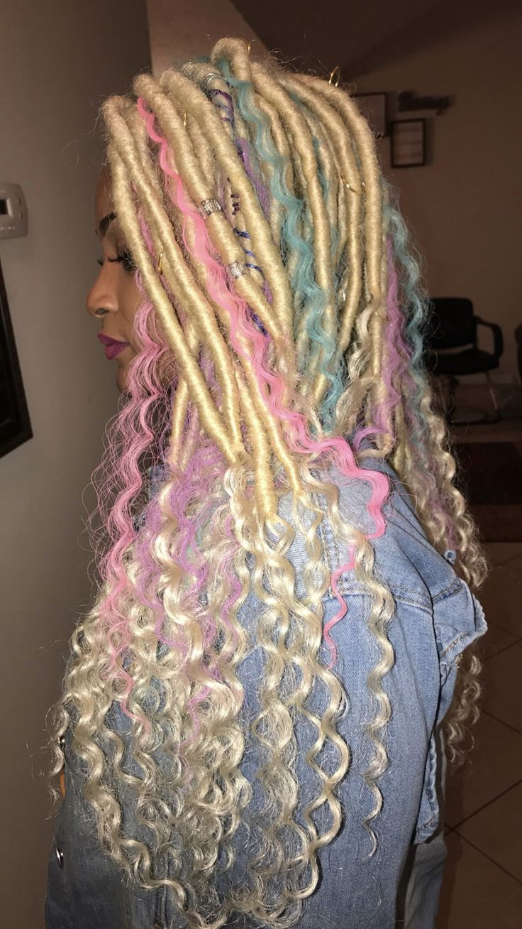 cotton candy 🍭 faux locs | Hair styles, Braided hairstyles