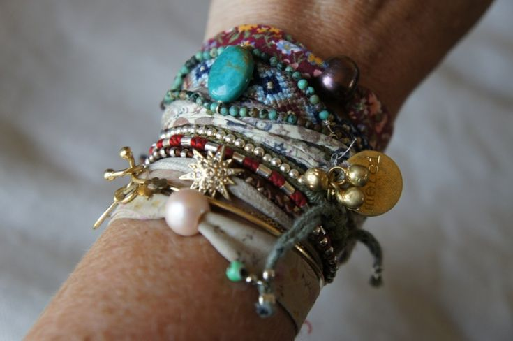 Interesting stack of bracelets