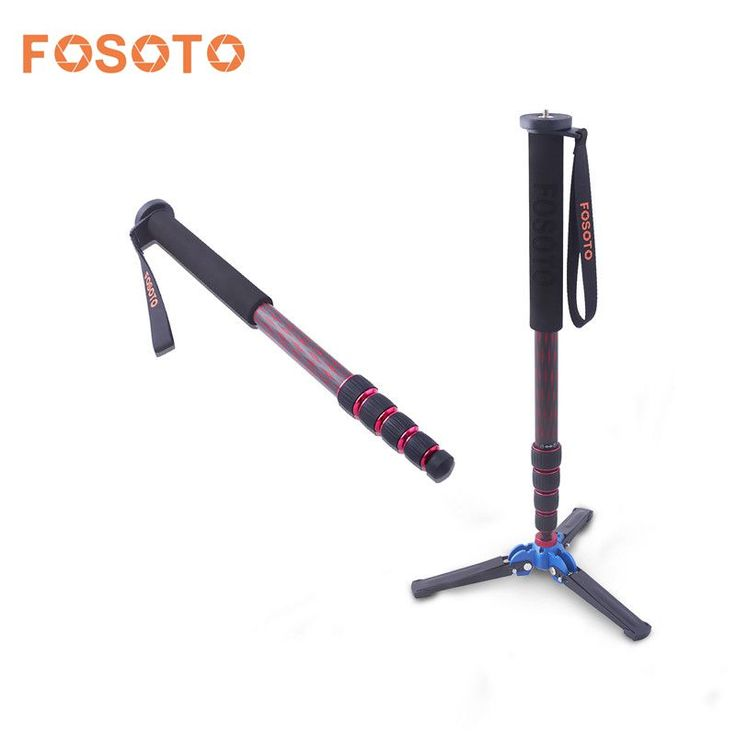 """fosoto C-222 Carbon Fiber Camera Monopod Tripod Red & Black With Stand Base 3/8""""Adapter Professional Mini Tripod For DSLR Phone //Price: $67.19//     #shopping"""