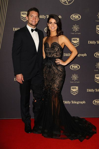 Jarrod Croker of the Canberra Raiders and Brittany Wicks arrive at the 2016 Dally M Awards at Star City on September 28, 2016 in Sydney, Australia.