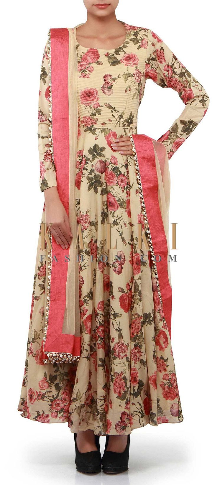 Buy Online from the link below. We ship worldwide (Free Shipping over US$100). Product SKU - 302268. Product Link - http://www.kalkifashion.com/beige-anarkali-suit-adorn-in-rose-motif-print-only-on-kalki.html