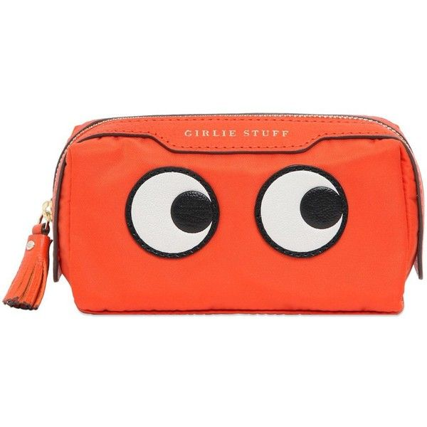 Anya Hindmarch Women Eyes Nylon & Leather Make-up Bag ($199) ❤ liked on Polyvore featuring bags, handbags, shoulder bags, orange, orange handbags, nylon purse, leather handbags, genuine leather purse and red purse