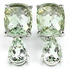 Ohrringe grüner Amethyst Prasiolith 22.5 ct 925 Silber 585 Weißgold