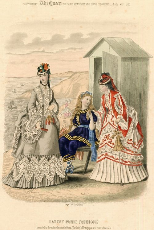 Seaside dresses for women and a bathing suit for girls, 1872 UK (French fashions), The Queen