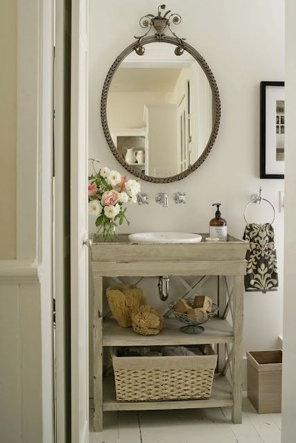 Vintage Bathroom With Gray Washed Wood Single Bathroom Vanity, Polished  Nickel Wall Mount Faucet