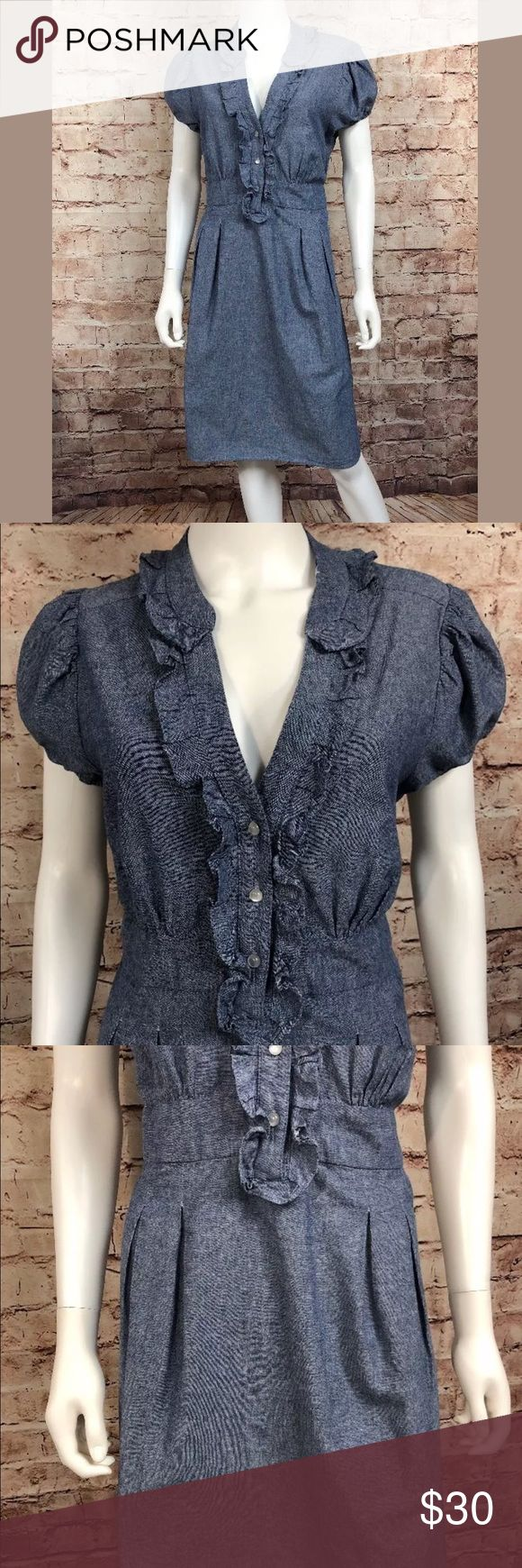 """Lilly Lou Large Denim Chambray Shirt Dress Ruffle Like new condition.  Clean and smoke free.  Chest 21"""" across front, underarm to underarm High waist 20"""" across front  Length 39"""" from shoulder seam to bottom  W27  Lilly Lou Large Denim Chambray Shirt Dress Empire Blue Ruffle lilly lou Dresses Midi"""