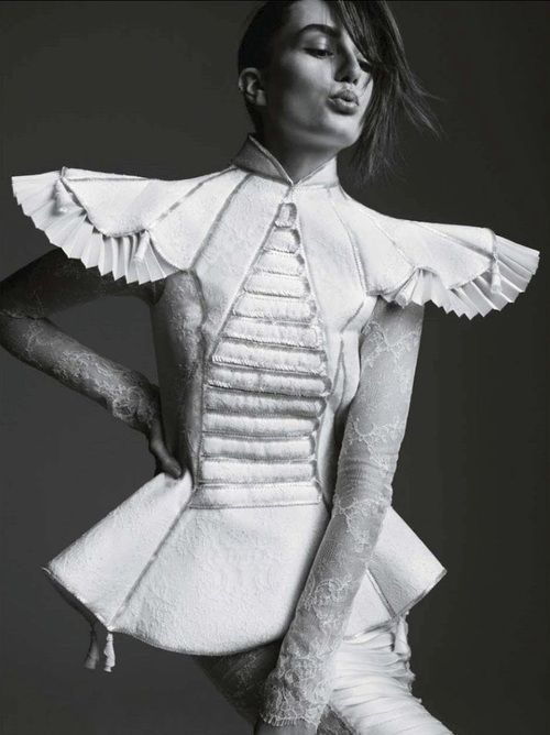 Sculptural Fashion with an exaggerated silhouette, fitted waist and pleated sleeve detail; 3D fashion // Giovanni Bedin