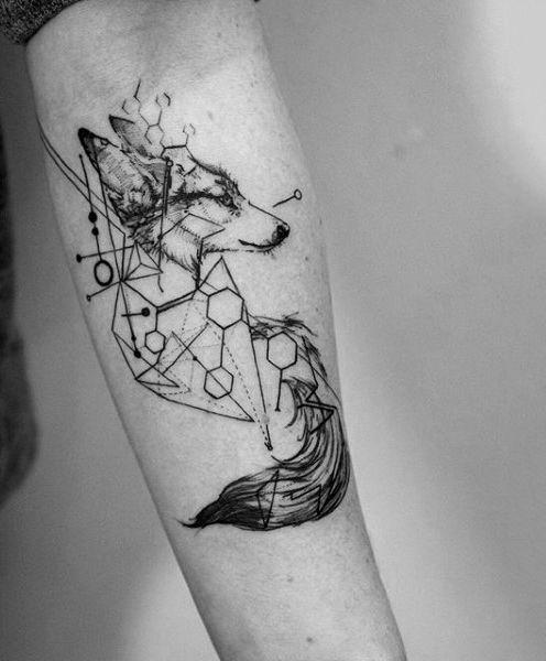 Geomterics And Fox Tattoo Guys Forearms