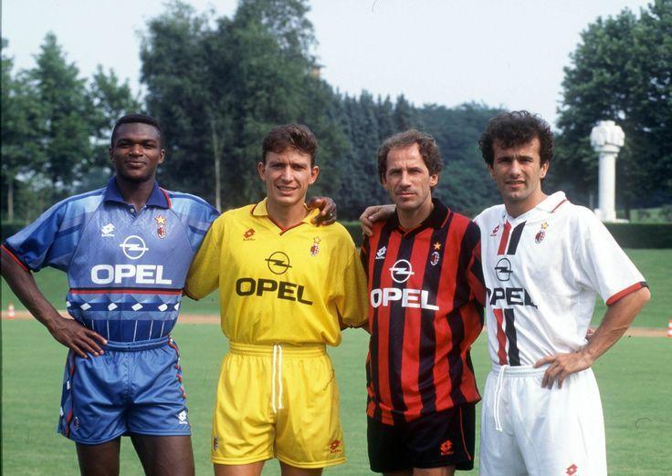 Marcel Desailly, Stefano Eranio, Franco Baresi, Dejan Savicevic au Milan AC