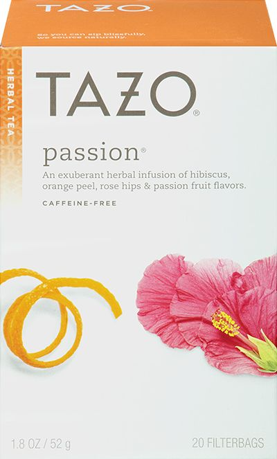 Tazo Passion® Herbal Tea | An exuberant herbal infusion of hibiscus, orange peel, rose hips and passion fruit flavors. | Tart rose hips and citrusy lemongrass woo the voluptuous blooms of hibiscus flowers. An infusion that's bursting with life and tinged with the color of true love to make sure you never have to live a day without passion.