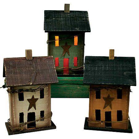 "Primitive Crafts   12"" Primitive Electric Saltbox House Candle Lamp"