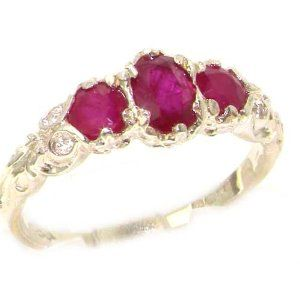 Ladies Solid Sterling Silver Natural Ruby English Victorian Trilogy Ring - Finger Sizes 5 to 12 Available LetsBuySilver. $98.00