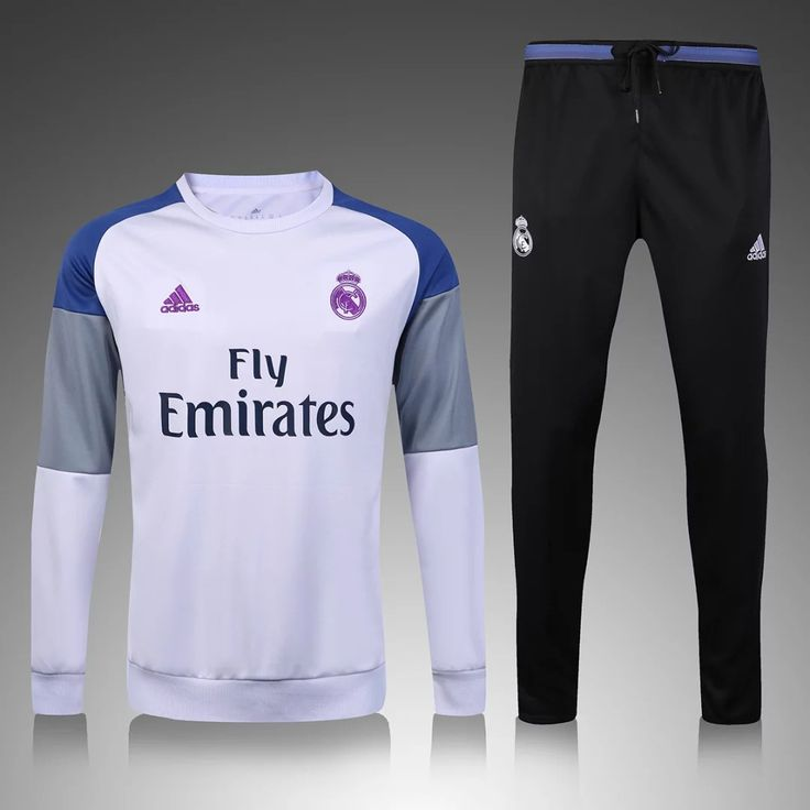 Real Madrid 2016/17 White Men Tracksuit With Black Pants Slim Fit