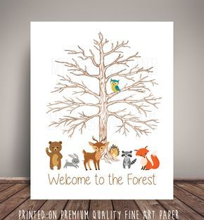Woodland Forest Friends Baby Shower Nursery Art Memorabilia - Thumbprint Tree Guest Record for Woodland Nursery - Fine Art Paper by MelissaWynneDesigns on Etsy