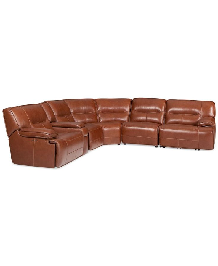 Beckett 6 pc leather sectional sofa with 3 power recliners for Cody fabric 6 piece chaise sectional sofa with 1 power recliner