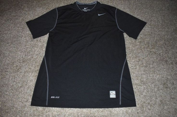 Nike Pro Combat Black Gray Core Fitted Short Sleeve Black Mens Medium M 269609 #Nike #AthleticShirt
