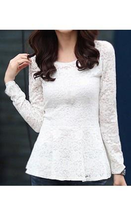 Long Sleeve Lace Peplum Blouse - Apostolic Clothing