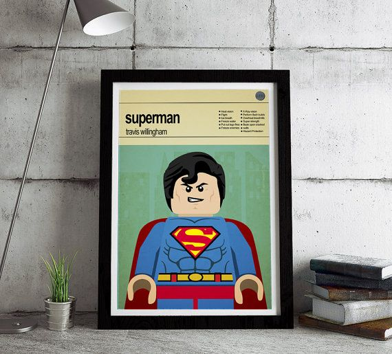 This is a stylish poster print of the Lego Marvel Super Heroes Superman, fit to grace any man cave or children's bedroom. Hand drawn with a graphics tablet and pen this print is styled with typography and features the actor who voiced Superman in the Lego Marvel Super Heros game and the Lego Super Hero abilities.