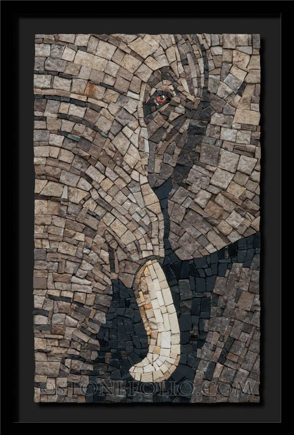 Elephant | Roberto Centazzo natural stone mosaic,  11in x 18in x2in +frame 2015.