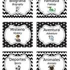 30 Bilingual (Spanish/English) Literary Genre Labels for Classroom Library. Black and white chevron/polka dot design.