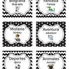30 Bilingual (Spanish/English) Literary Genre Labels for Classroom Library. Black and white chevron/polka dot design.