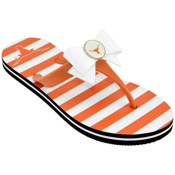 Women's College Edition Texas Longhorns Bow Flip-Flops ($13) ❤ liked on Polyvore featuring shoes, sandals, flip flops, orange, bow flip flops, bow sandals, bow shoes, orange flip flops and orange shoes