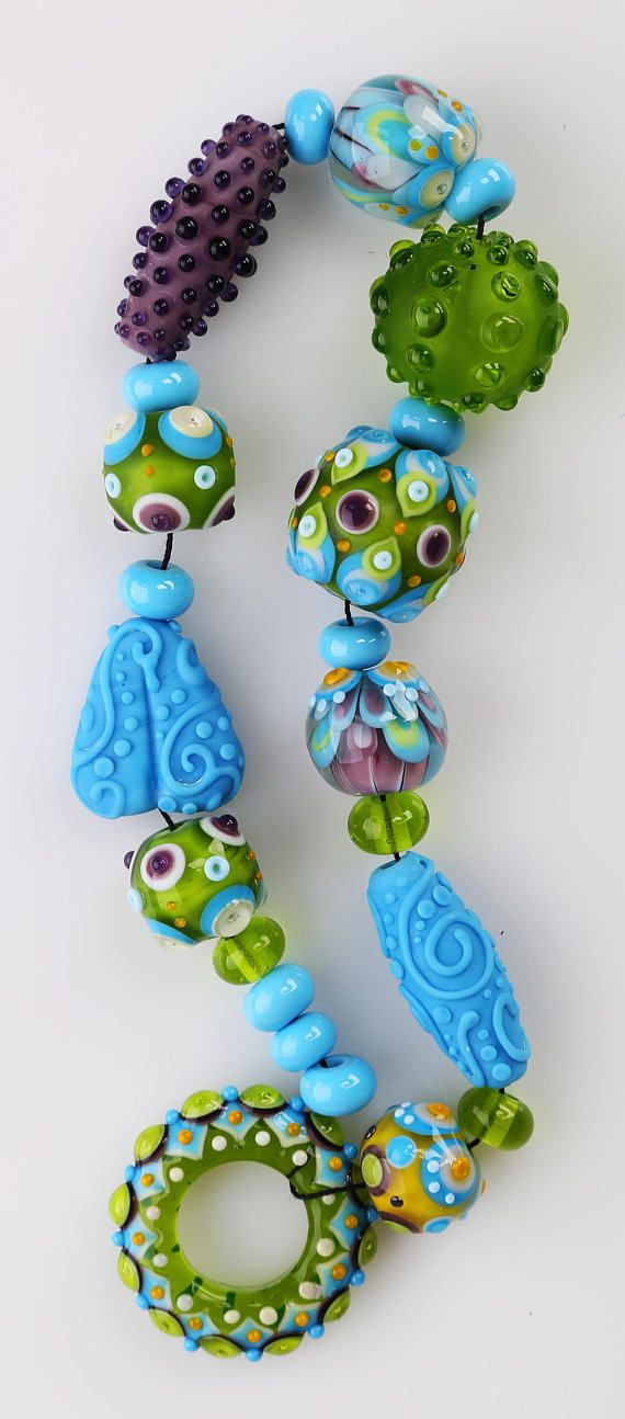 glass bead set green baby blue purple lampwork beads