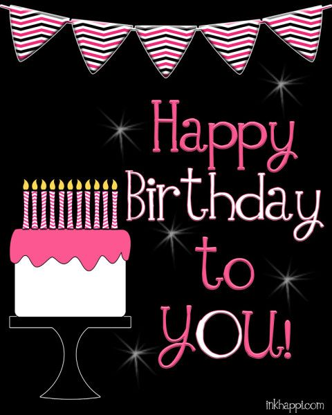 Cute happy Birthday Poster. free printables- Download the Pink & Blue!