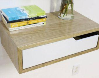 Floating Nightstand with Shelf walnut hardwood by ImagoFurniture