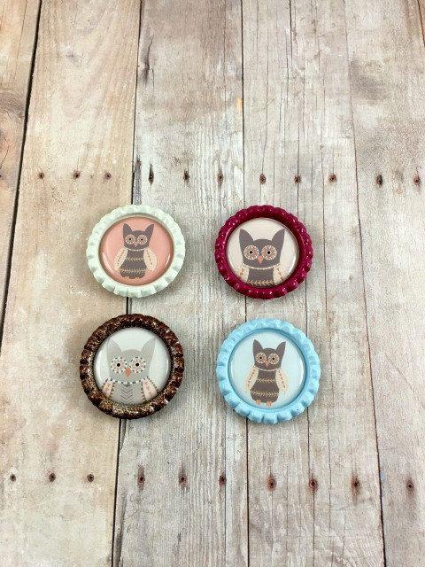 Owl Magnet Set  Kitchen Magnets  Fridge Magnets  by MysticGemz