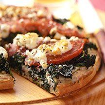 Spinach Tomato and Feta Pizza