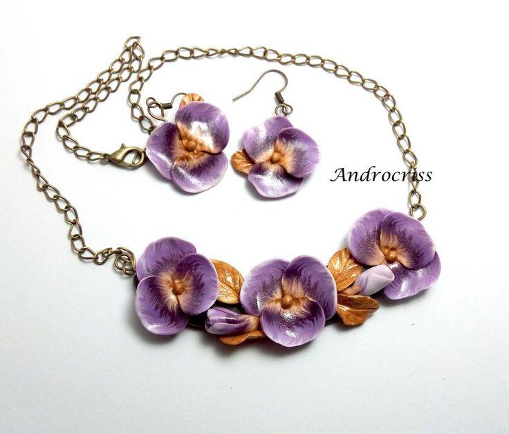 Flori mov set bijuterii din lut polimeric