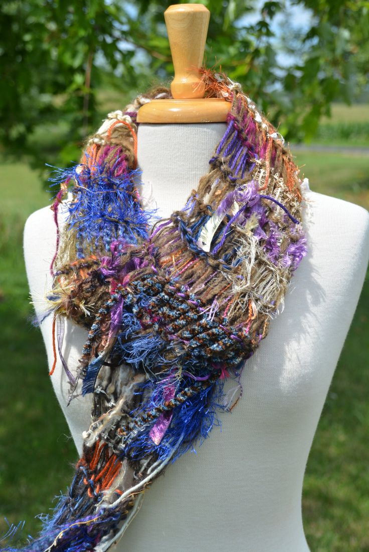 Women's hand knit fringed Triangle scarf, knit shrug - Dumpster Diva Series 'Mery Go Round', colorful scarf, shrugs and wraps, hand knit by RockPaperScissorsEtc on Etsy