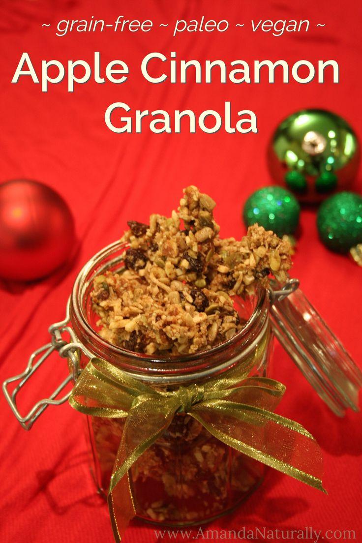 Apple Cinnamon Granola | grain free, paleo, vegan | AmandaNaturally.com