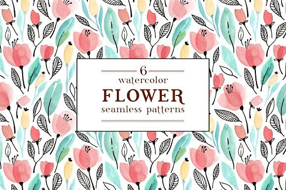 Watercolor floral patterns by Maria Galybina on @creativemarket Beautiful spring flowers