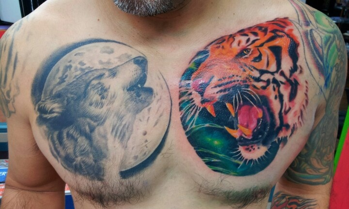 Wolf and tiger chest tattoo tattoos by adrian flores at for Tattoo shops near me san antonio