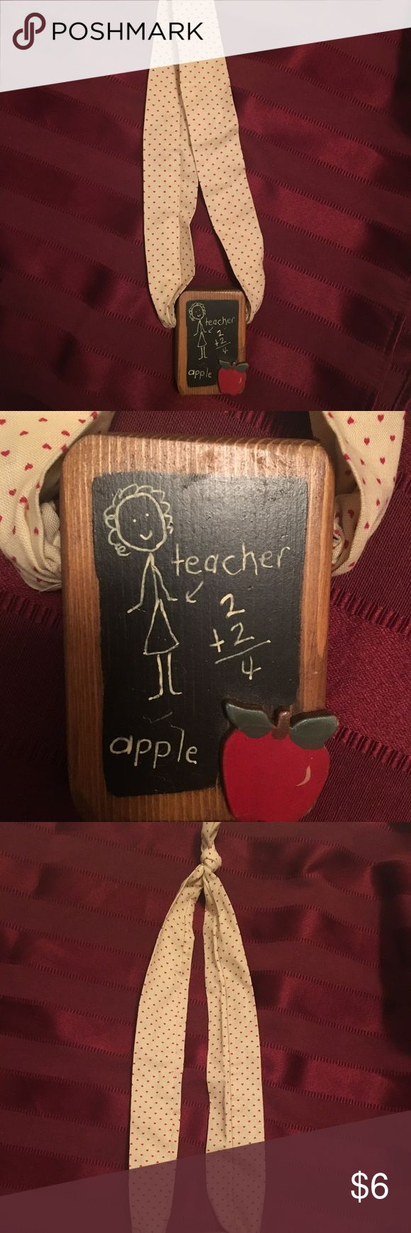 Teacher wooden necklace Teacher wooden chalkboard necklace with beige cloth. Would make a great teacher Christmas gift! Jewelry Necklaces